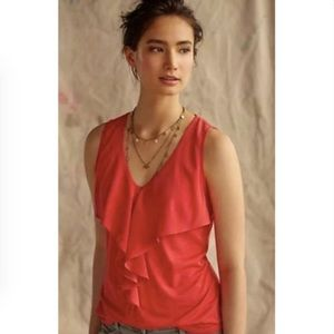 Anthropologie Deletta Red ruffle tank medium